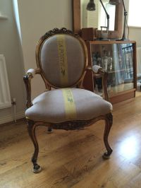 A reproduction Louis XIV chair (inc. reupholstered seat ...