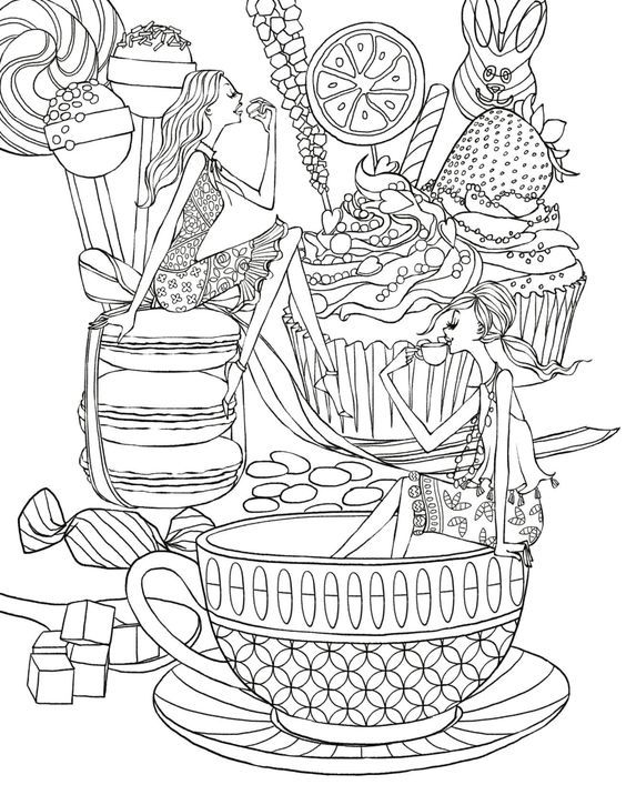424 best images about Coffee + Tea Coloring Pages for