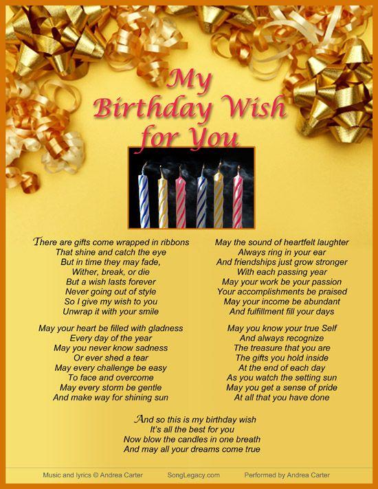 Lyric Sheet For Original Birthday Wishes Song My Birthday