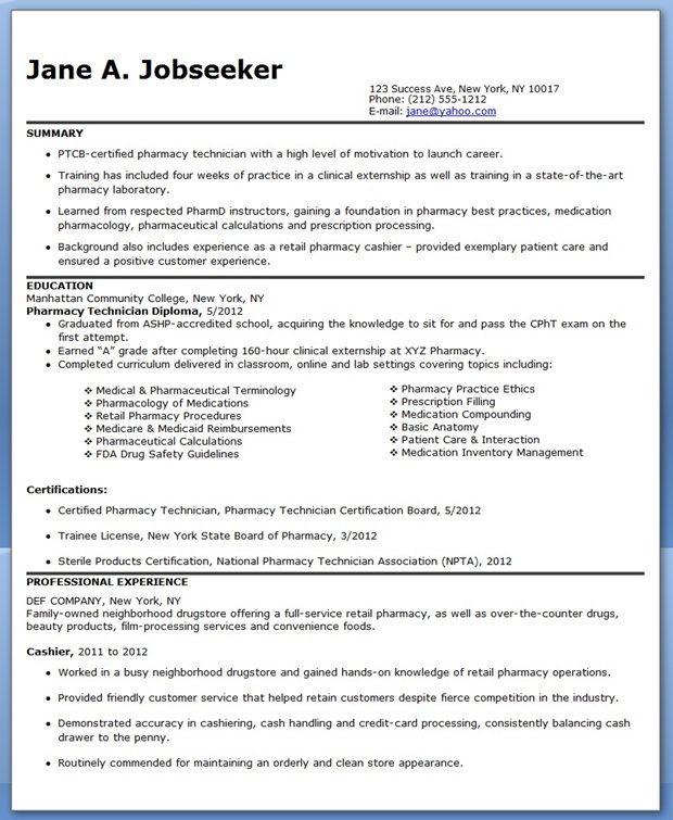 Pharmacy Technician Resume Sample No Experience  cpht werk  Pinterest  Pharmacy Resume and