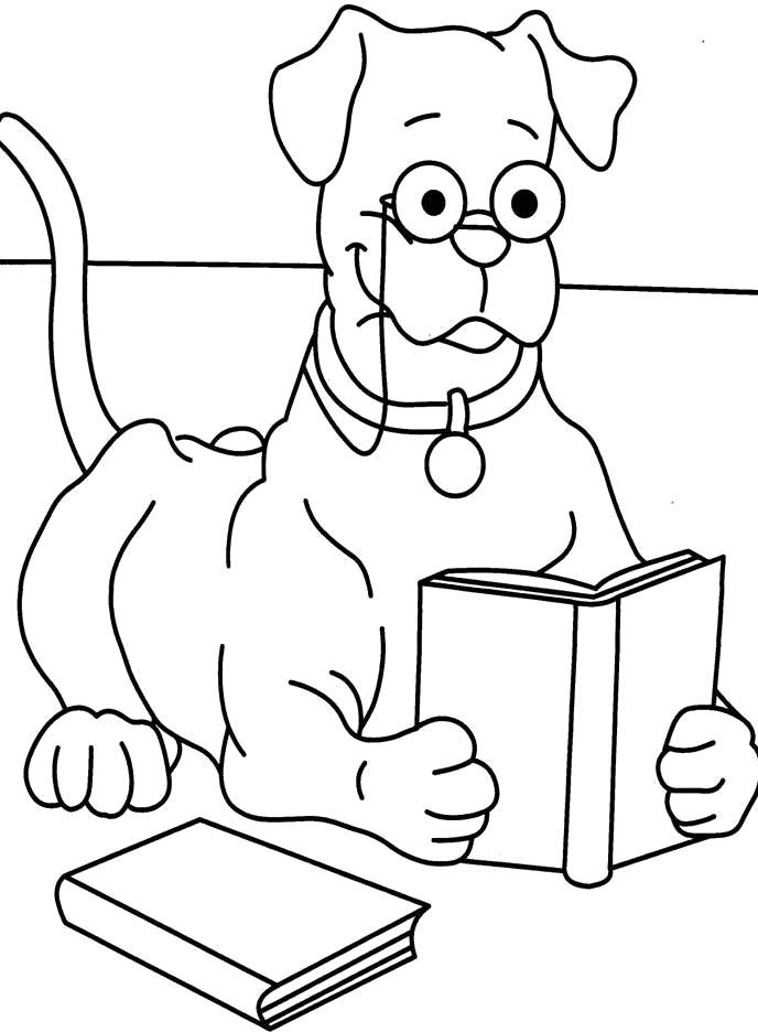 Old Dog Wear Glasses While Reading A Book Coloring For
