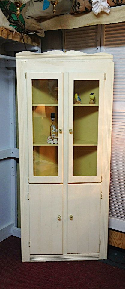 Chalk Paint Corner Curio Cabinet Vintage Yellow by