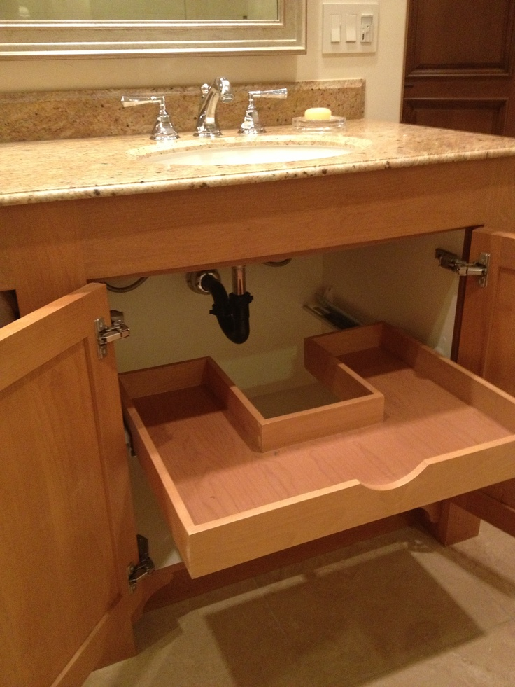 No wasted space Custom sliding drawer under the bathroom