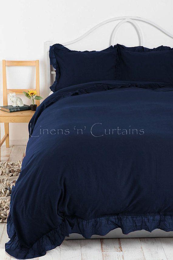 Ruffle Edge NAVY BLUE Duvet Cover Set 3 pc Egyptian by