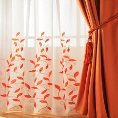 Orange Dining Room Chair Covers Sunbrella Lounge Replacement Cushions Burnt Kitchen Curtains | Home › Voiles Stunning Leaf Trail Rod Pocket ...