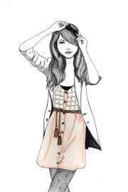 fashion girl hair illustration