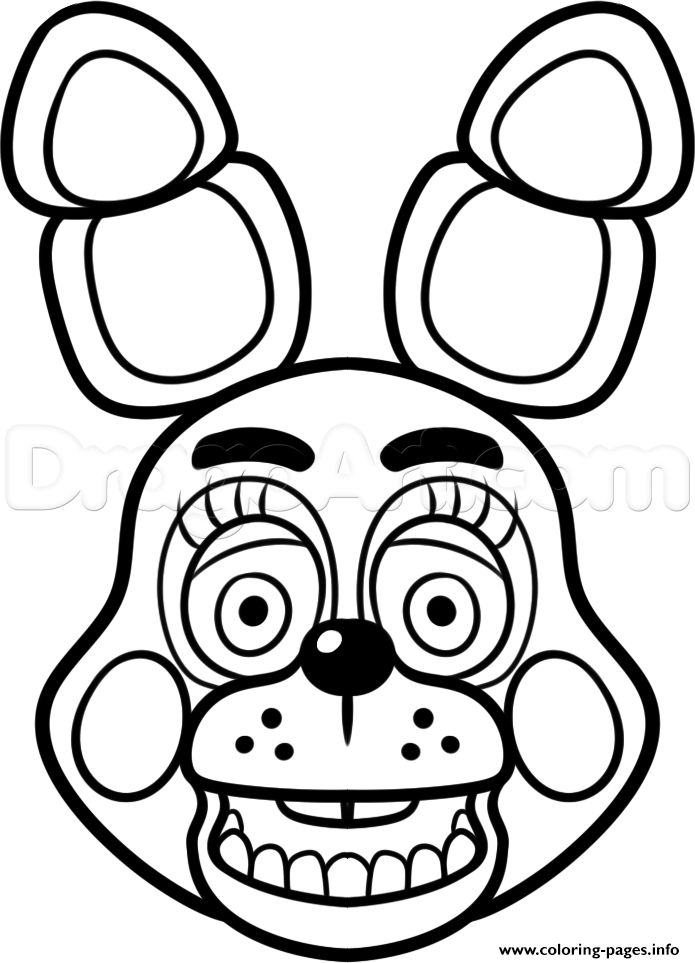 Print mangle golden freddy face fnaf coloring pages