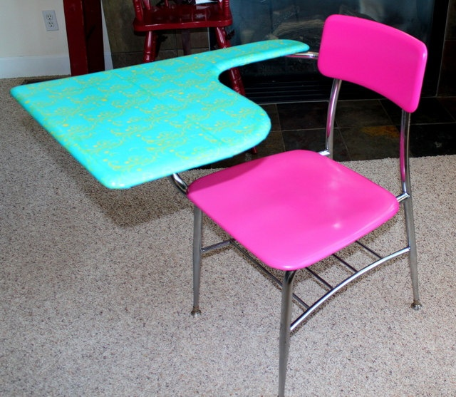 Hot Pink  Turquoise Refurbished Old School DesK Chair