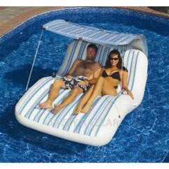 Pool Floating Lounge Chairs Ergonomic Chair Specifications Solstice Luxury Cabana Inflatable With Sun-shade Top | Chairs, Pools ...