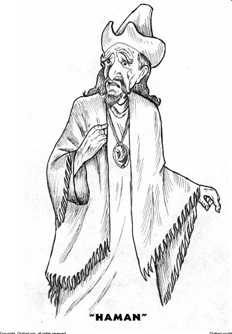 Haman coloring page from www.chabad.org