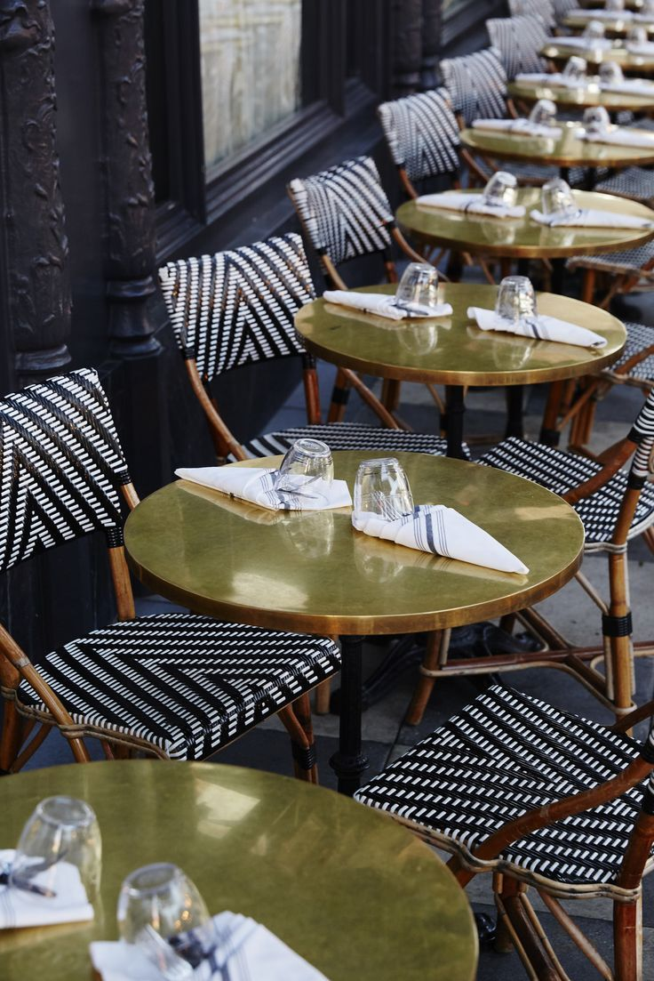 love these chairs with the gold tables  ACE Hotel  For