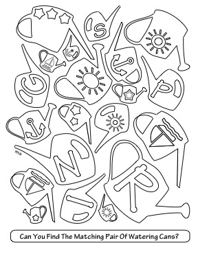 Spring Activity Coloring Pages This Watering Can Matching