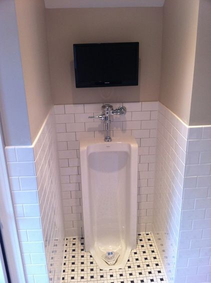 Ultimate man cave bathroom  full length urinal with flat