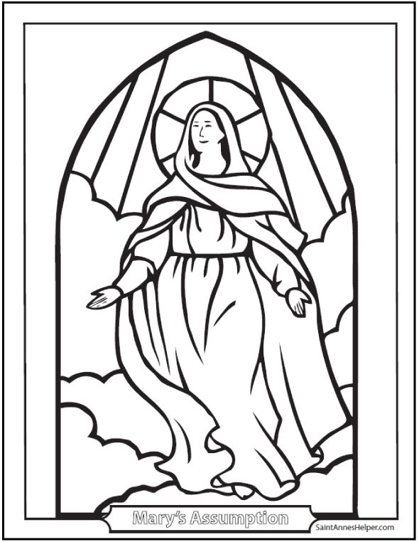 Assumption Coloring Picture of Mary