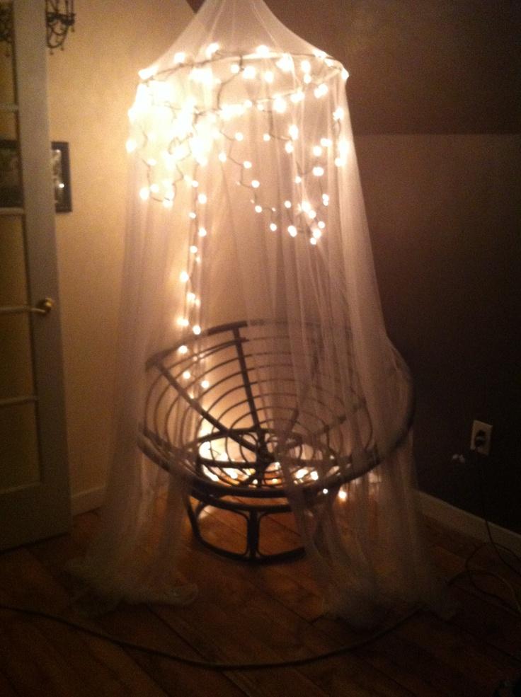 Christmas Lights On A Canopy Over A Papasan Chair Crafty