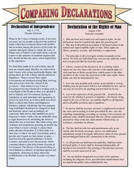 Comparing The Declaration Of Independence Amp Declaration Of