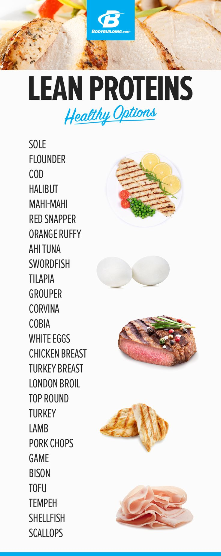 LEAN PROTEIN – HEALTHY OPTIONS! Every food item you need for a successful transformation.