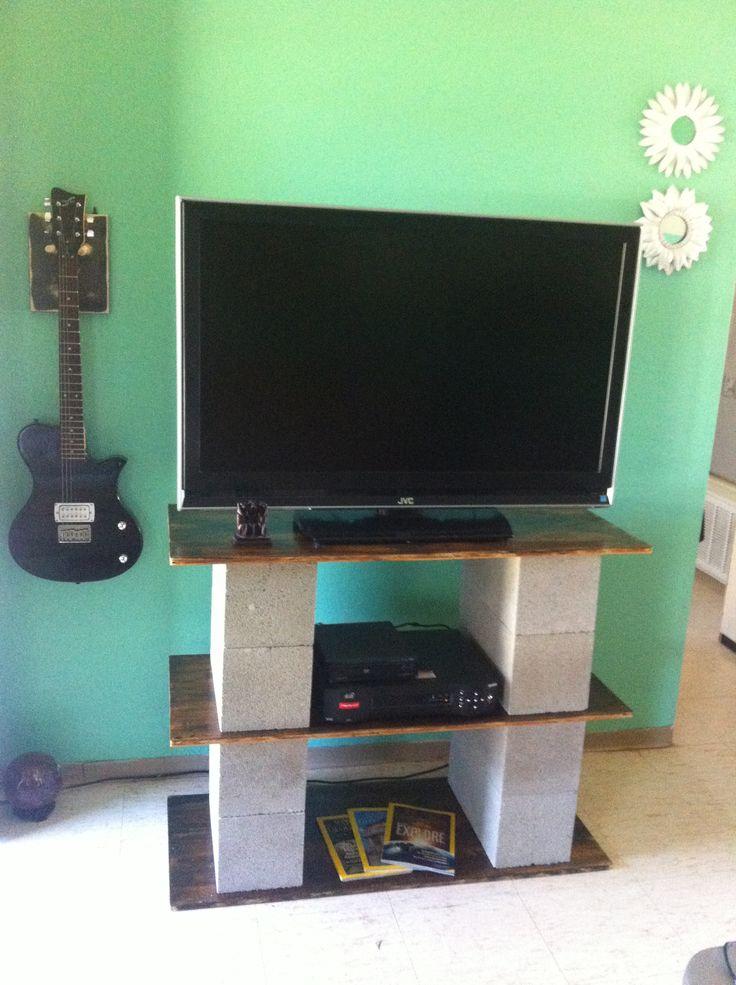 DIY tv stand with cinder blocks  Simple  easy DIY