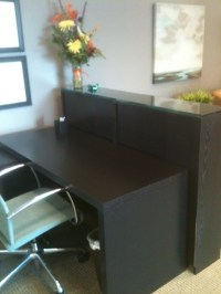 Malm desk and Billy bookcase as reception desk (view 1 ...