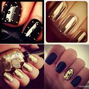 gold and black nail design nails