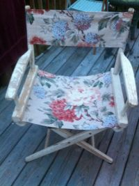 Vintage Wood & Canvas Director Chair - Chippy White Paint ...