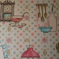 Vintage kitchen wallpaper. Oil lanterns and pink pots and ...