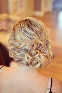 Wedding hair Bride side bun curls plaits bridesmaid guest ...