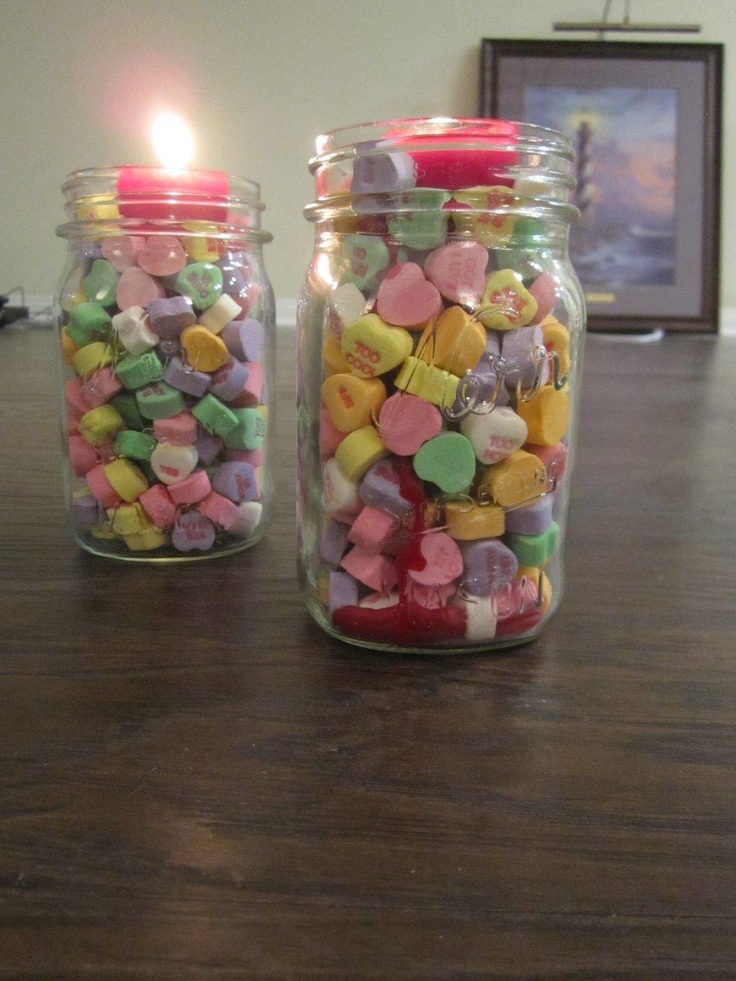 Valentines Day Candles I Filled Mason Jars With