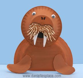 Walrus Styrofoam Bowl and Plate Craft for Kids (also link to plastic bottle walrus)