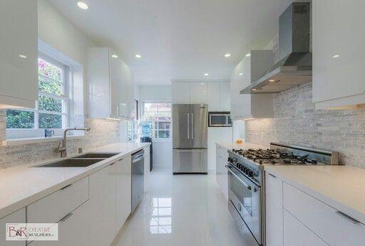 Glossy white flat panel kitchen cabinet  Kitchen  Beeman