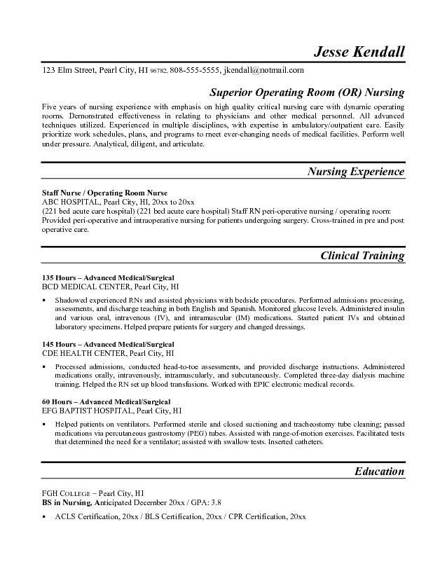 Nurse  Operating Theatre  Free Resume Template  Resumes