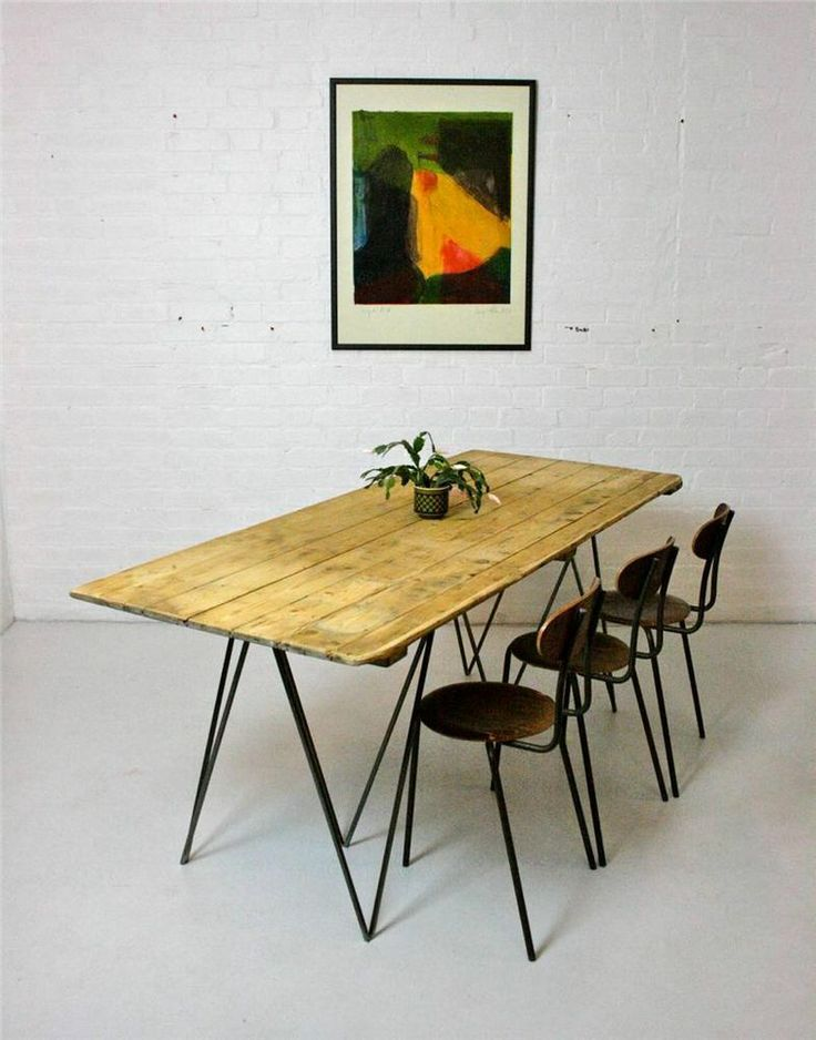 Large Vintage Pine Plank Dining Table with Industrial