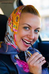 Head scarf tied under chin