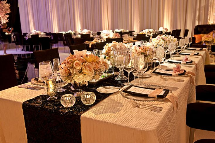 Luxe Tablescape With Black Ivory And Blush Color Palette