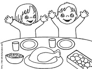 Printable coloring page of children eating Thanksgiving