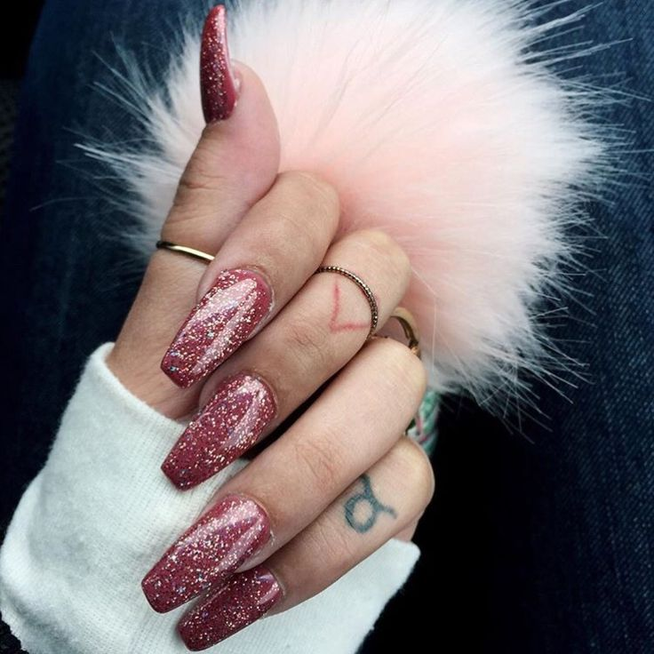 Red Glitter Coffin Nails