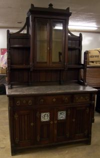 Victorian Walnut Marble Top Buffet Sideboard China Cabinet ...