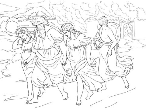 Lot and His Daughters Fleeing the Destruction of Sodom and