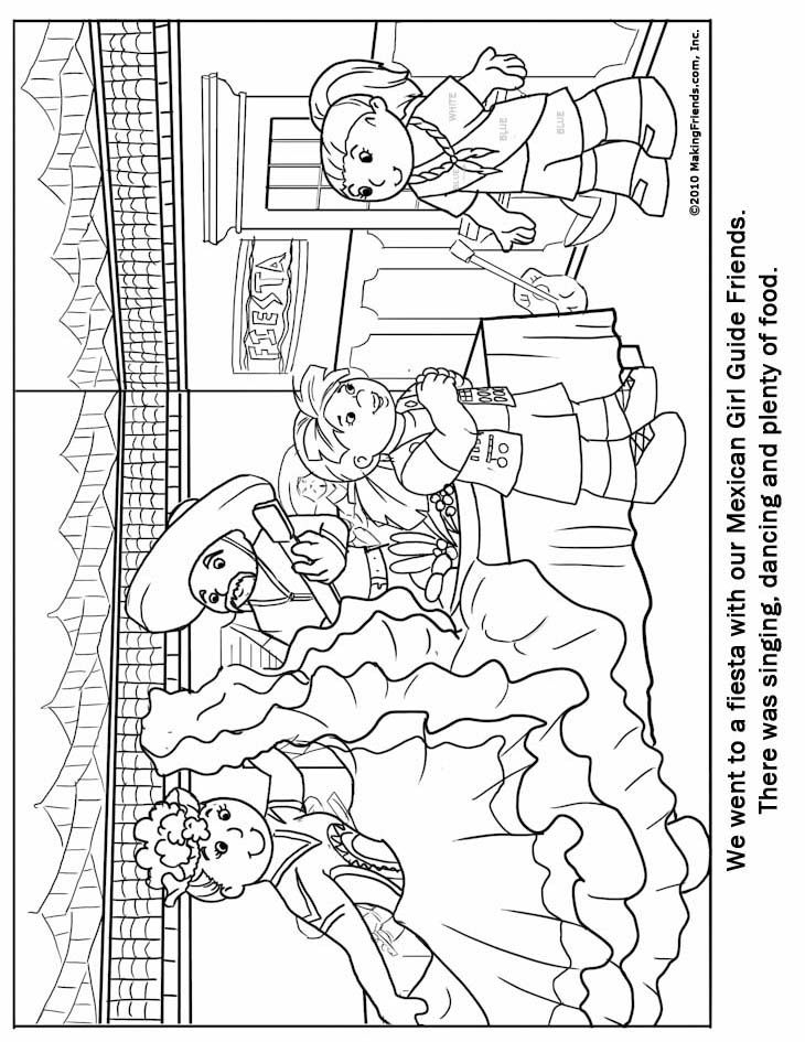 World Thinking Day: Mexican Girl Guide Coloring Page