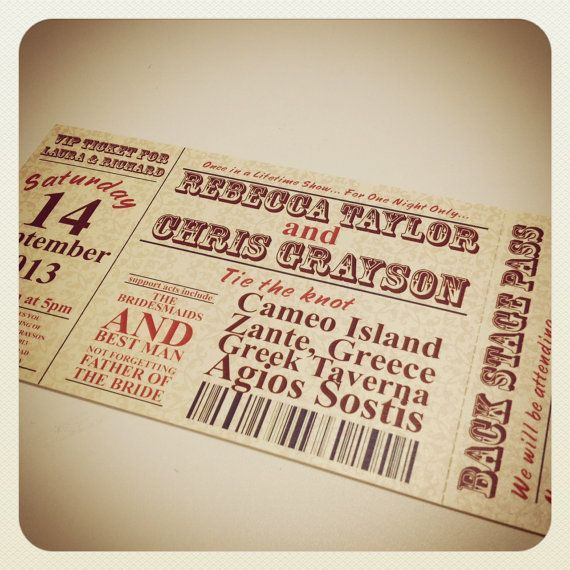 Concert Ticket Style Wedding Invitations – Invitations That Look Like Concert Tickets