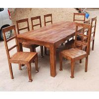 Rustic 8 Person Large Kitchen Dining Table Solid Wood 9 pc ...