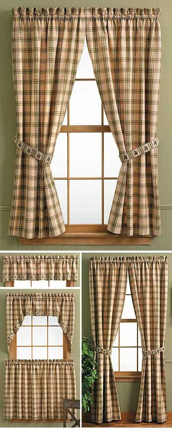 Lodge Style Kitchens LODGE STYLE CURTAINS Blinds Shades Curtains Cabin Pinterest