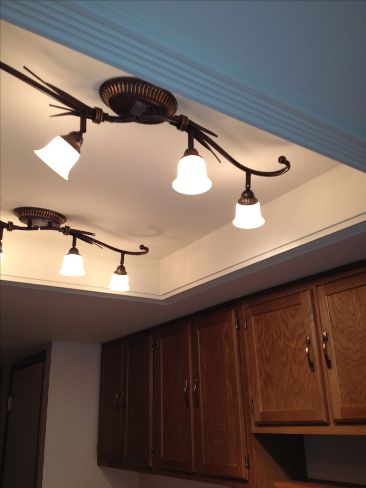 kitchen track lighting fixtures island chairs for convert that ugly recessed, fluorescent ceiling ...