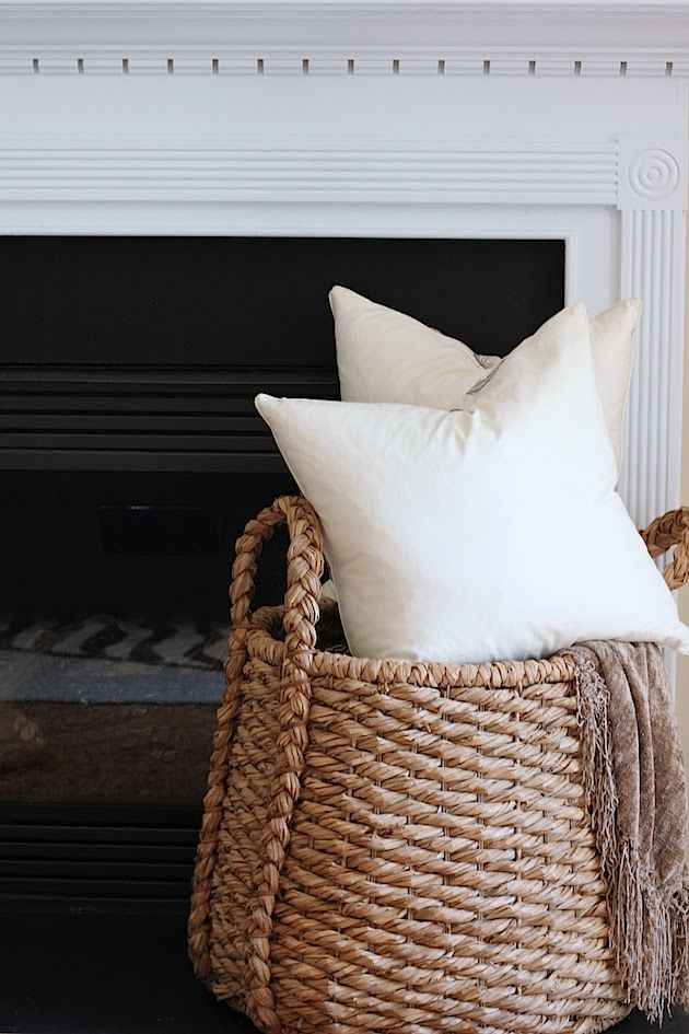 Basket to hold pillows and a blanket  Decorating Ideas  Pinterest  Pillow storage