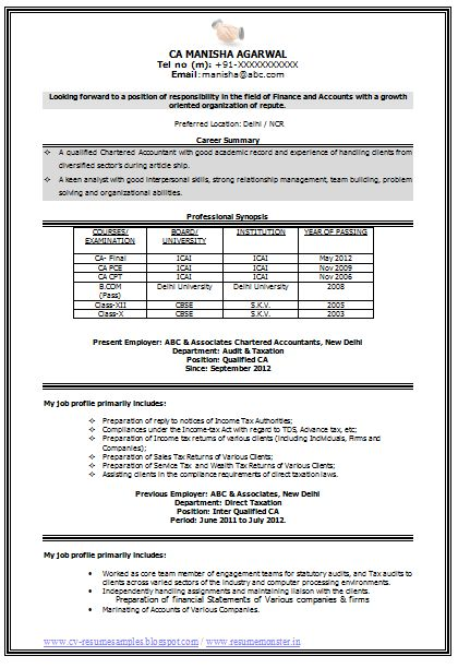 Sample Template Of An Experienced Chartered Accountant