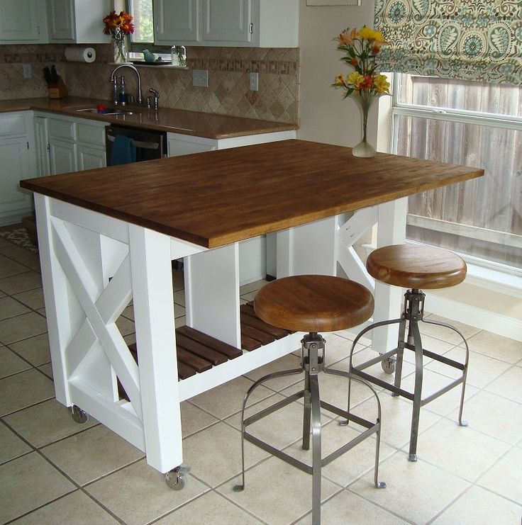 Mobile Kitchen Island Diy  WoodWorking Projects  Plans