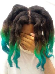 green and blue hair tips ombre