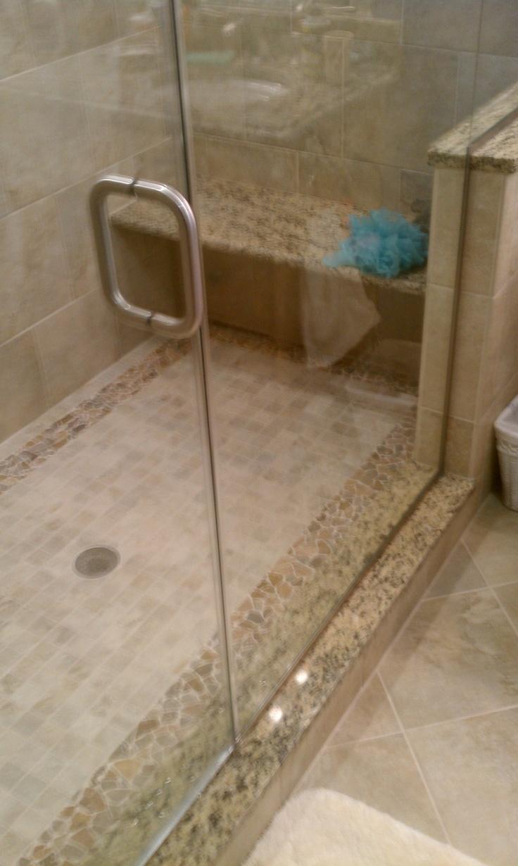 Seamless Glass Shower Doors Granite Bench In Custom