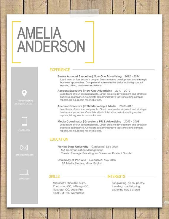 Resume Template  The Sara  Modern Resume Template  Instant MS Word Download  Resume