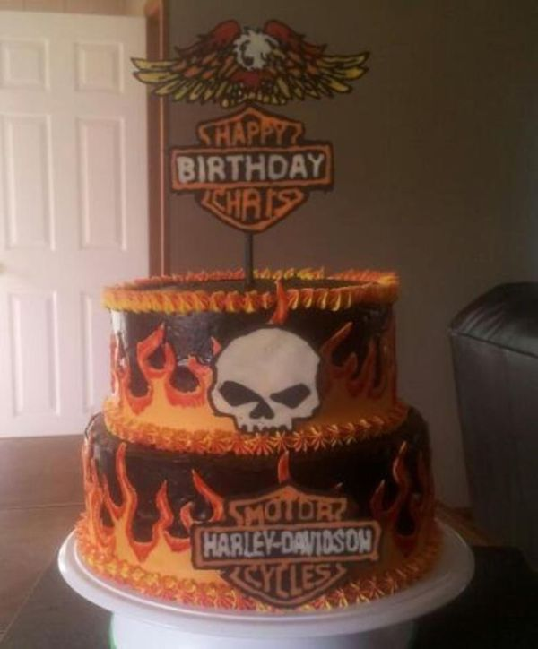 Harley Birthday Cake with skull and flames Biker